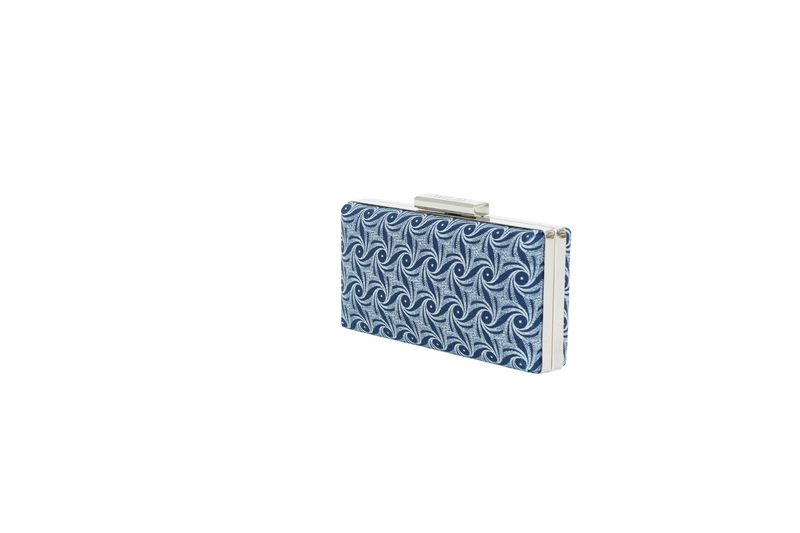 Blue Swirl Print Clutch  - product images  of