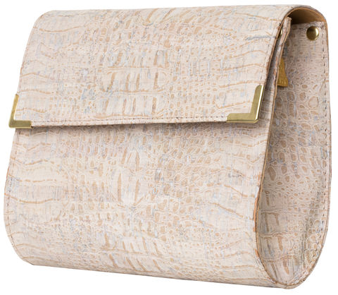 White,Croc,Straight,Clutch,crocskin, vegan, sustainable, clutch