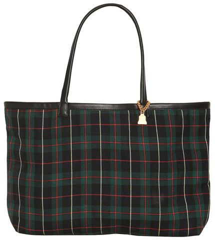 NEW!,Medium,Black,Watch,Tote,Tartan, vegan