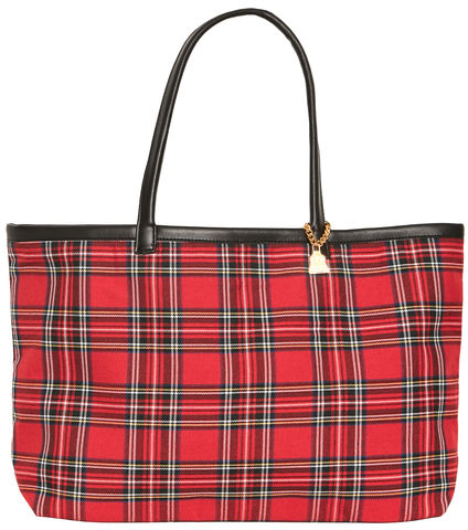 NEW!,Medium,Royal,Watch,Tote,Tartan, vegan