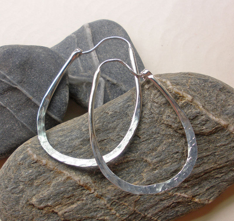 Hammered Sterling Silver Hoops - product image