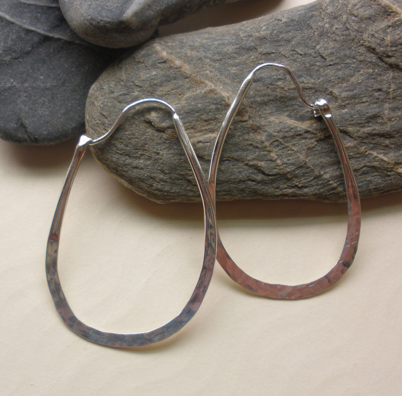 Hammered Sterling Silver Hoops - product images  of