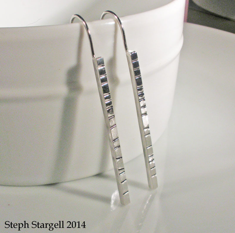 Sterling Silver Textured Bar Earrings - product images  of