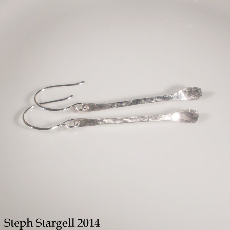 Hammered Sterling Silver Raindrop Earrings - product image