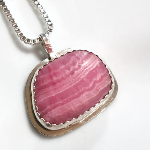 Rhodochrosite,and,Sterling,Silver,Bezel,Set,Necklace,Rhodochrosite Necklace, Rhodochrosite Pendant, Pink Stone Necklace, Bezel Set