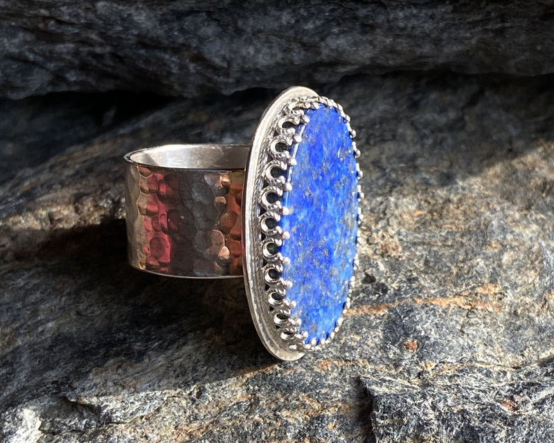 Lapis Lazuli and Sterling Silver Ring with Iron Pyrite - product image