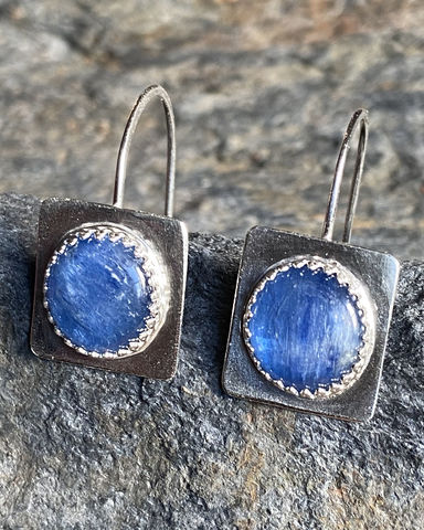 Sterling,Silver,and,Kyanite,Dangle,Earrings,kyanite earrings	blue earrings	blue cabochons	kyanite dangles	kyanite hoops	kyanite cabochon	handmade earrings	handforged earrings	steph stargell	blue dangle earrings