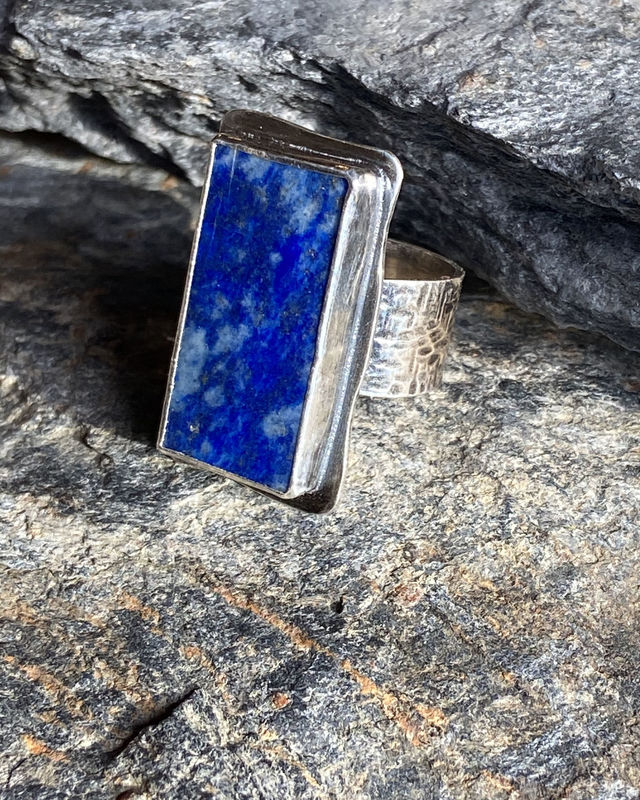 Sterling Silver Lapis Lazuli Ring with Iron Pyrite - product image