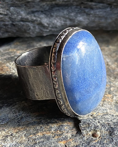 Sterling,Silver,and,Blue,Quartz,Statement,Ring,blue quartz	blue quartz ring	big blue quartz ring	bezel set ring	sterling quartz ring	silver quartz ring	boho ring	western ring	steph stargell	handmade ring	statement ring	quartz ring	handforged ring