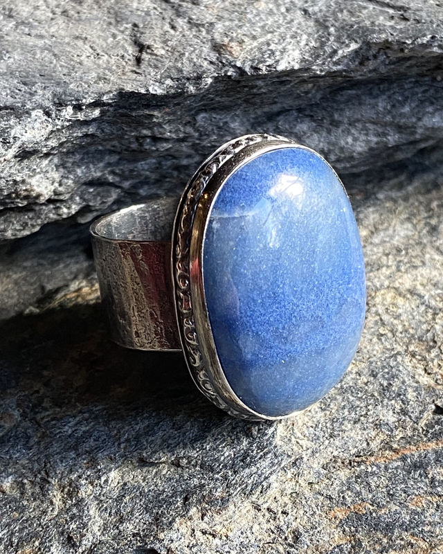 Sterling Silver and Blue Quartz Statement Ring - product image