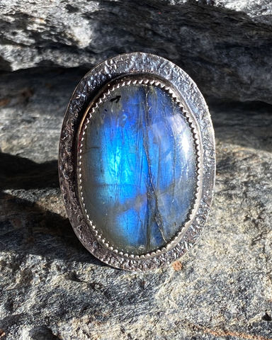 Labradorite,and,Sterling,Silver,Bezel,Set,Statement,Ring,labradorite ring	large labradorite	statement ring	big lab ring	sterling ring	silver ring	sterling silver ring	handmade statement	handmade ring	blue statement ring	lab statement ring	steph stargell	wide band ring