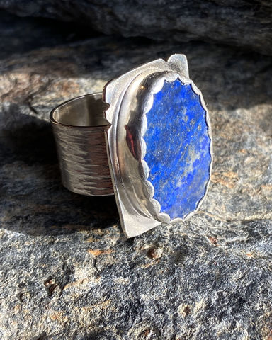 Lapis,Lazuli,with,Iron,Pyrite,and,Sterling,Silver,Ring,lapis ring	lapis lazuli ring	iron pyrite	wide band lapis ring	birch bark ring band	handmade ring	lapis lauli	lapis	handmade lapis ring	handforged ring	steph stargell	iron pyrite ring