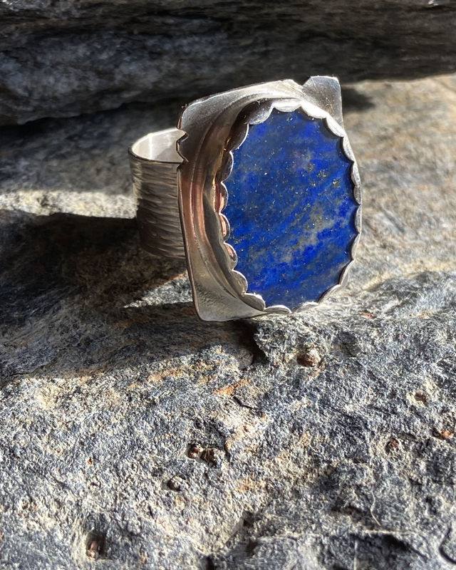 Lapis Lazuli with Iron Pyrite and Sterling Silver Ring - product image