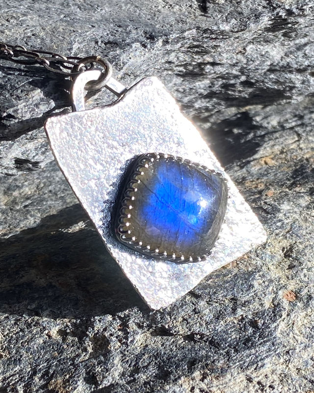 Sterling Silver Textured Labradorite Necklace Pendant - product image