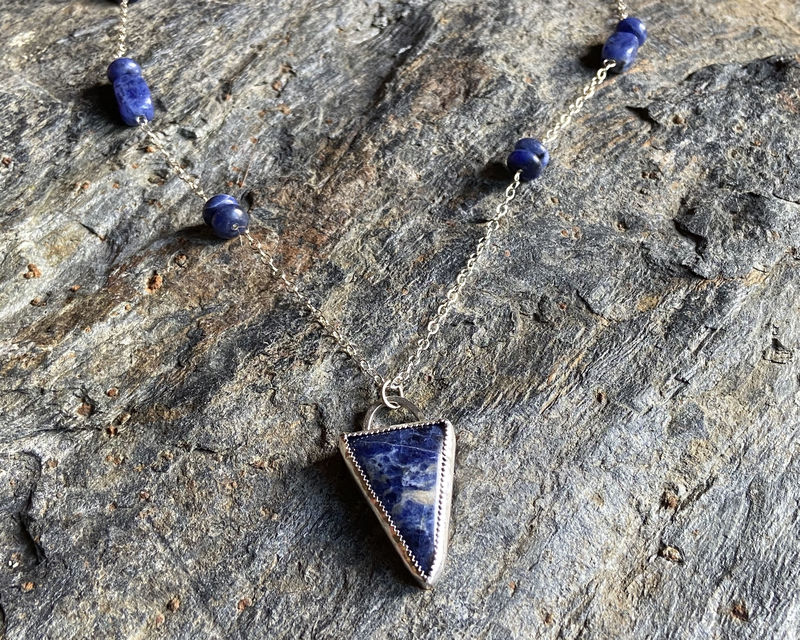 Sterling Silver Sodalite Bezel Set Pendant Beaded Necklace - product image