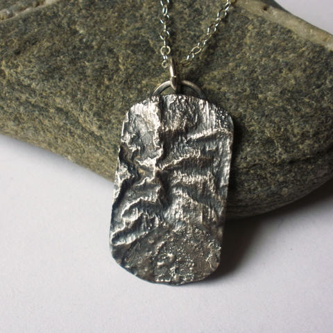 Take,A,Hike,-,Reticulated,Sterling,Silver,Topographic,Dogtag,Necklace,jewelry,necklace,metalwork,sterling,silver,hike,hiking,nature,topographic,reticulated,reticulation,dog_tag,outdoors,sstargell,sterling_silver