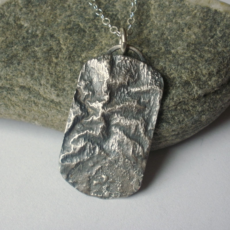 Take A Hike - Reticulated Sterling Silver Topographic Dogtag Necklace - product images  of