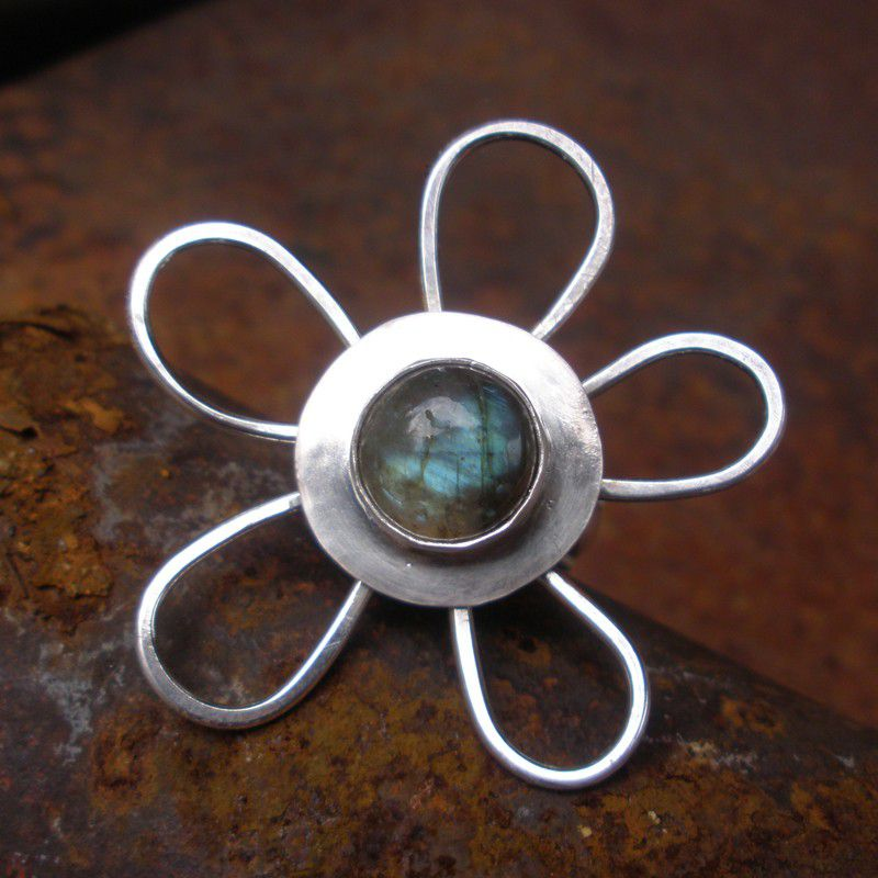 Spinner Ring Silver - Floral Labradorite Spinning Spinner Sterling Silver Kinetic Ring - product images  of