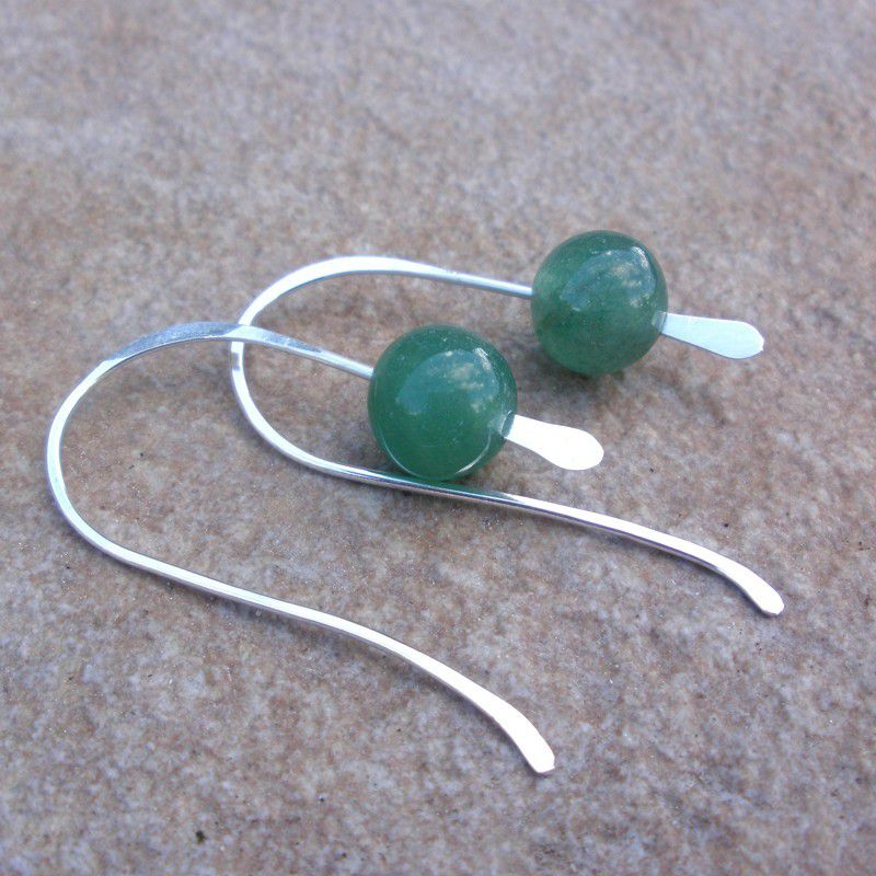 Green Jade and Sterling Silver Earrings - product images  of