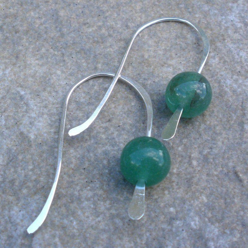 Green Jade and Sterling Silver Earrings - product image
