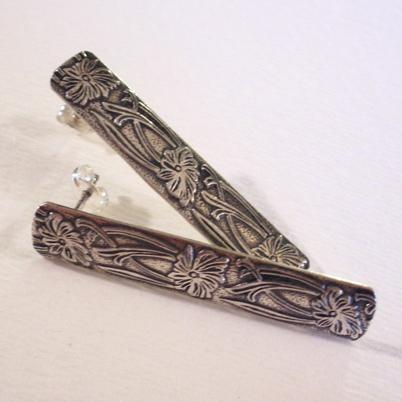 Art Nouveau Floral Sterling Silver Post Earrings - product image