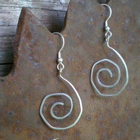 Swirly,round,Sterling,Silver,Earrings,jewelry,earrings,dangle,hoop,metalwork,sterling_silver,swirl,sstargell,once_upon_a_notion,hammered,kimberly,ooak,cyber_monday_etsy,forged