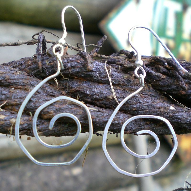 Swirly round Sterling Silver Earrings - product image