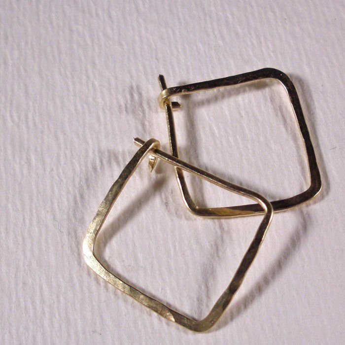 14K Gold Fill Hammered Square Hoop Earrings - product images  of
