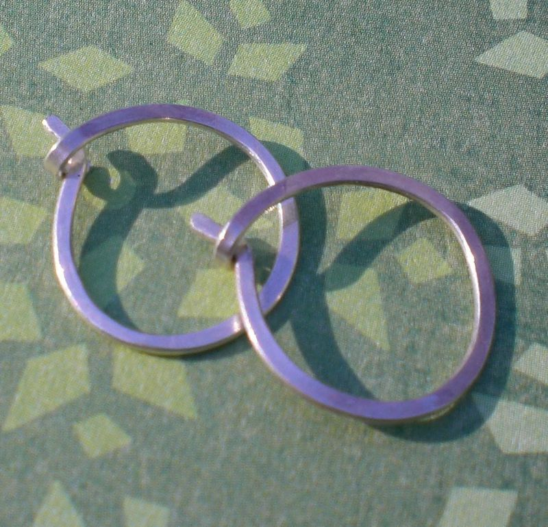 Small Hammered Sterling Silver Hoops Earrings - product images  of