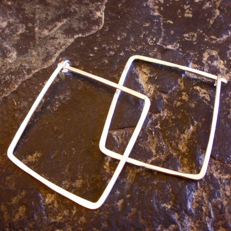 "Sterling Silver Square Hoop Earrings - Sterling Hoop Earrings 1"" - product images  of"