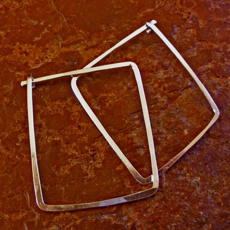 Sterling Silver Square Hoop Earrings - Sterling Hoop Earrings 1
