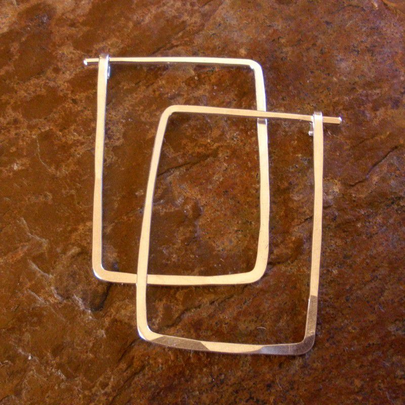 Sterling Silver Hoop Earrings, Hammered Rectangle Hoops - product image