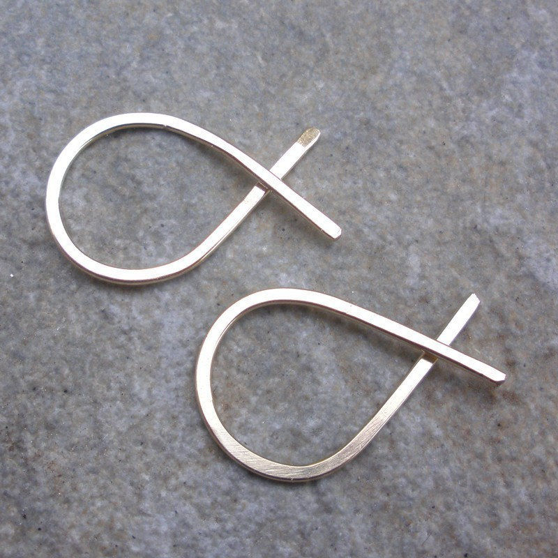 14K Gold Fill Hoop Earrings - Hammered Fish Hoops - Small - product images  of