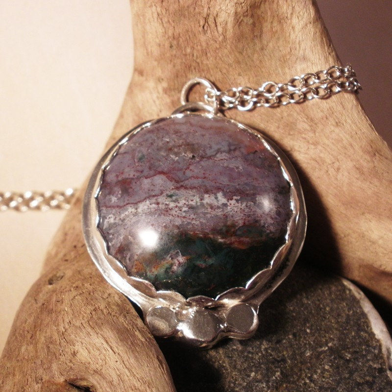 Agate Necklace, Artista Agate and Sterling Silver Necklace Pendant - product images  of