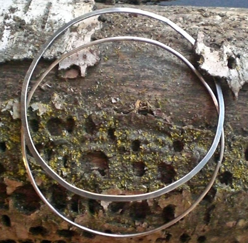 Sterling Silver Bangle Bracelets Set -  Oxidized - Longitude and Latitude - product images  of