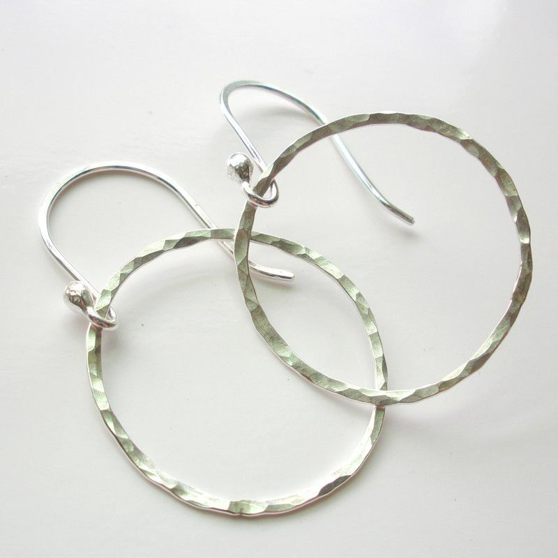 Sterling Silver Hammered Hoop Earrings - Circle Hoops - product image