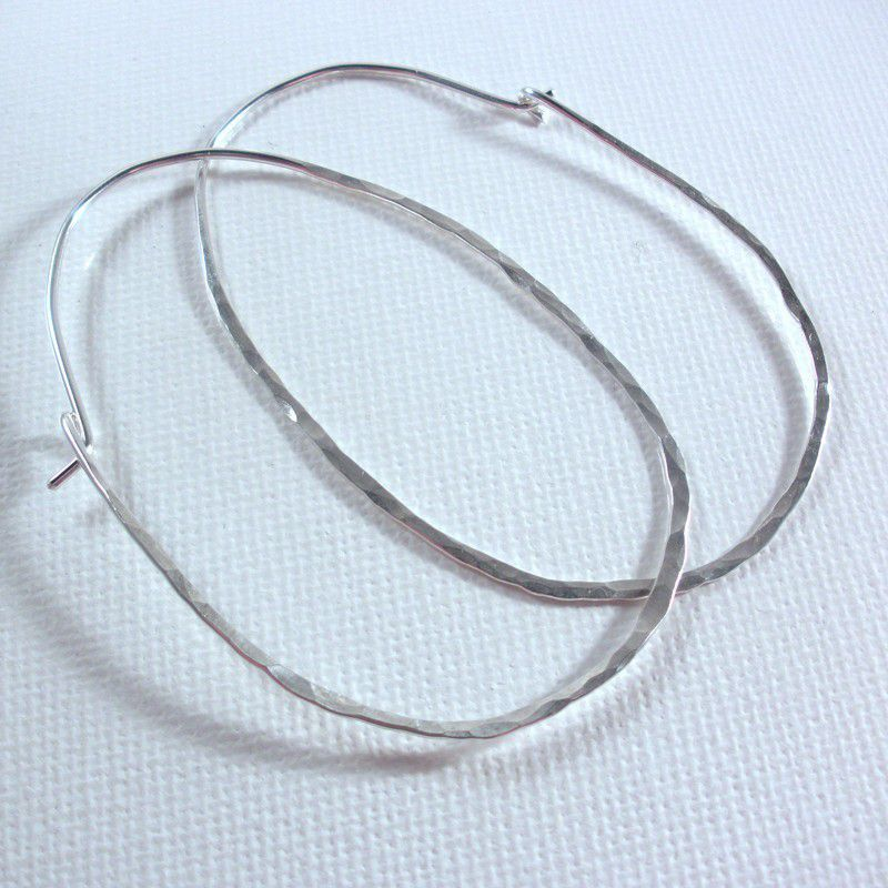 Extra Large Oval Sterling Silver Hammered Hoops - Shiny Sterling Silver - product image