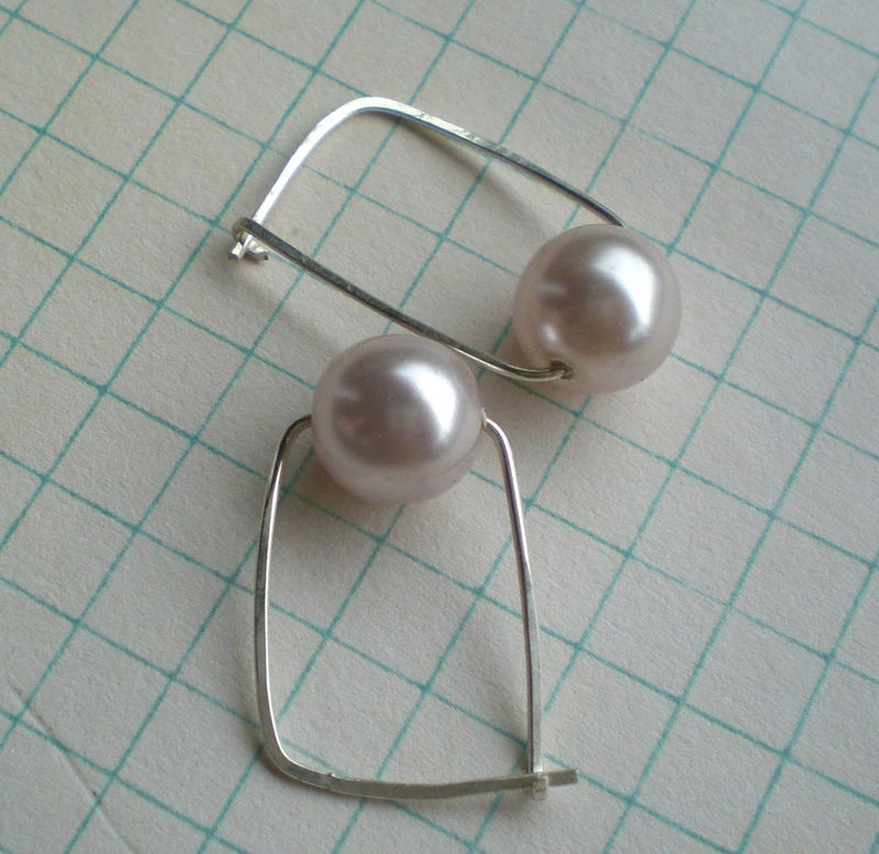 Swarovski Pearl and Sterling Silver Hoop Earrings - product image