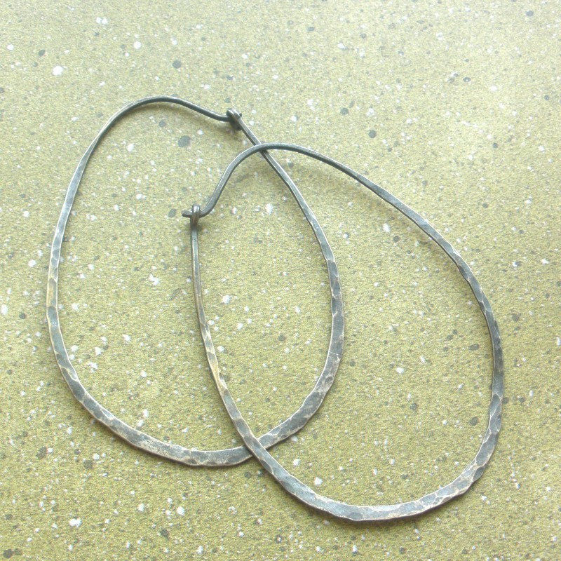 Extra Large Oval Sterling Silver Earrings Hammered Hoops - Oxidized - product image