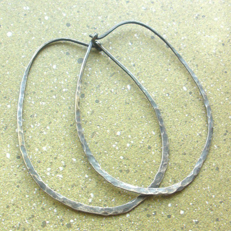 Extra Large Oval Sterling Silver Earrings Hammered Hoops - Oxidized - product images  of