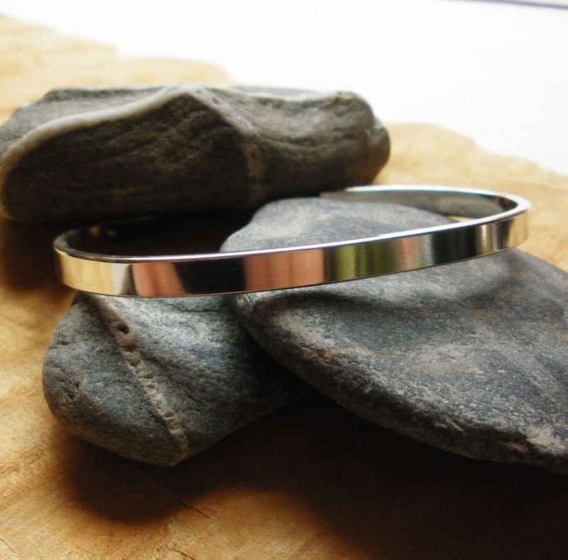 "Men's Sterling Silver Cuff Bracelet - 5mm x 2mm x 6.5"" - product images  of"