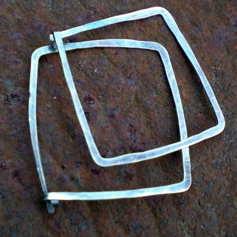 Sterling Silver Square Hoops, Oxidized Hammered Sterling Silver Earrings - product images  of