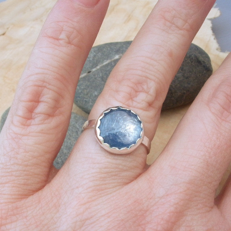 Kyanite and Sterling Silver Gemstone Cabochon  Cocktail Ring - Made To Order in YOUR SIZE - product images  of
