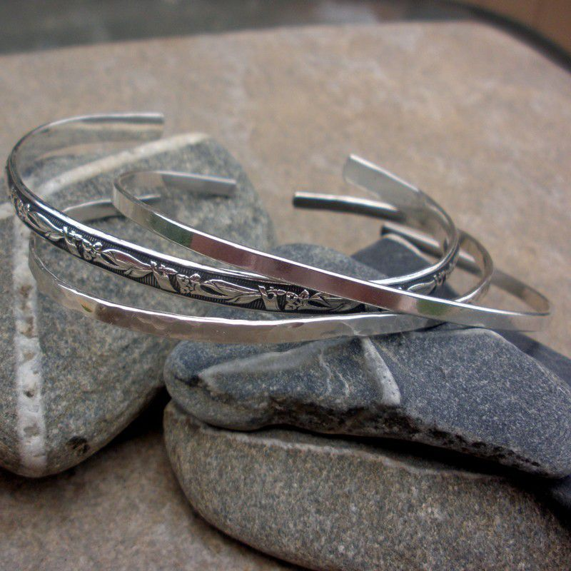 Sterling Silver Cuff  Bracelet Trio -  smooth, hammered, patterned cuff bracelets - product images  of
