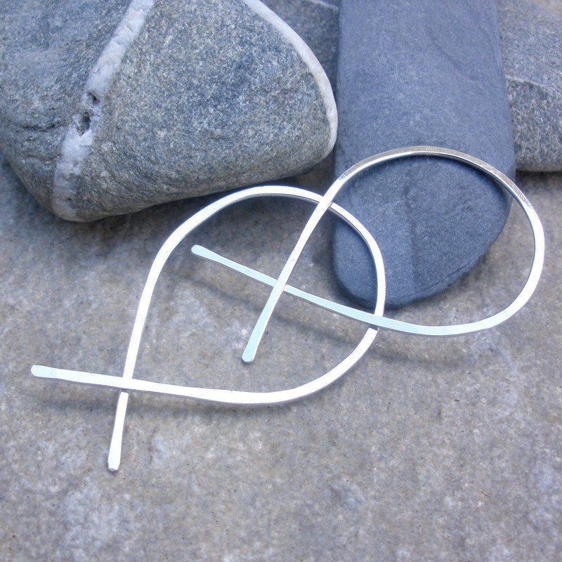 XL Sterling Silver Hammered Hoop Earrings, fish hoops - product image