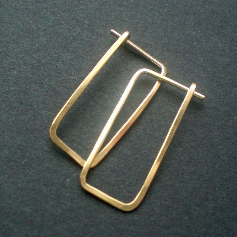 14K Gold Fill Hammered Hoop Earrings - Medium Rectangles - product images  of