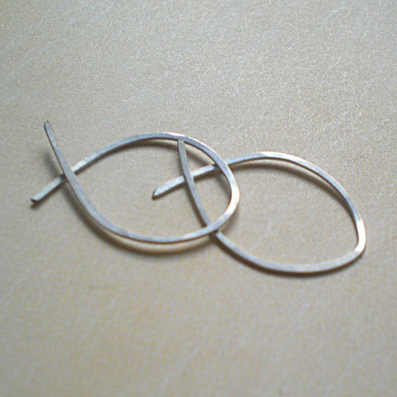 Sterling Silver Hoop Earrings, Hammered Fish Hoops - Small - product image