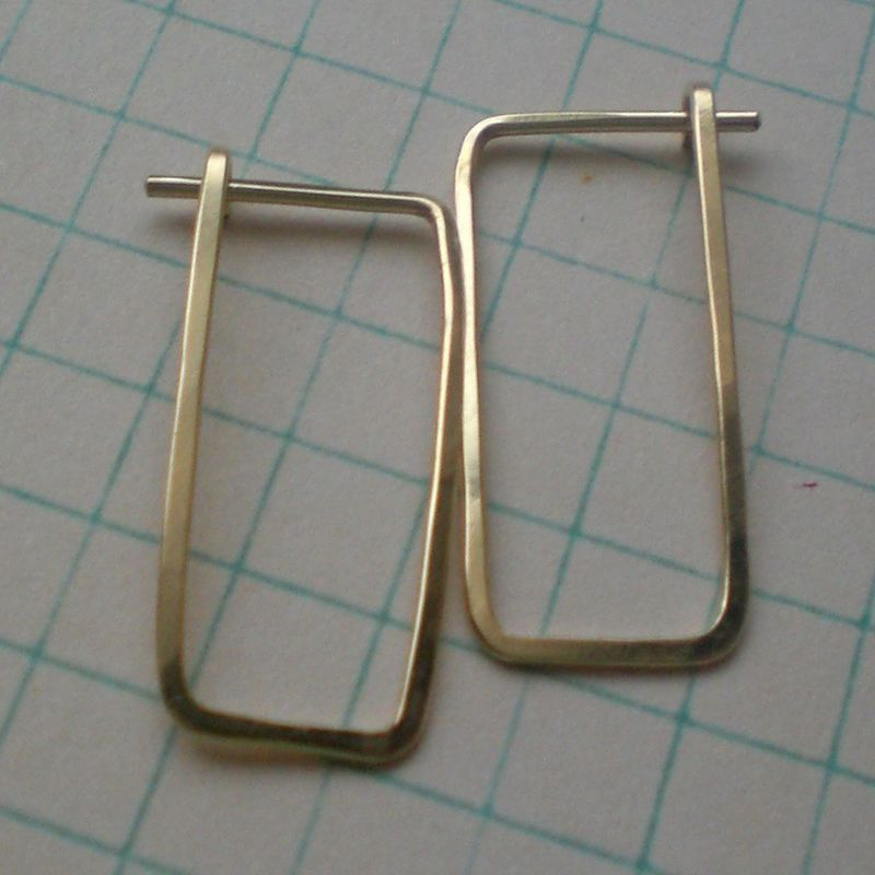 Gold Hoops - Hammered 14 K Gold Fill Rectangle Earrings - Small - product image
