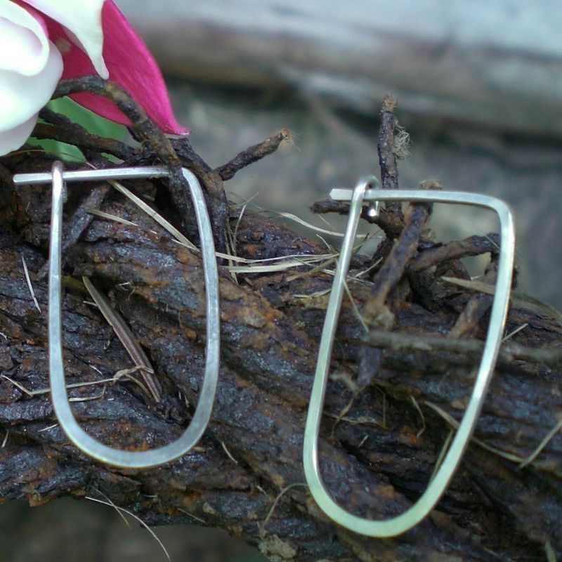 Sterling Silver Hammered Hoop Earrings - Oblong Hoops - product images  of