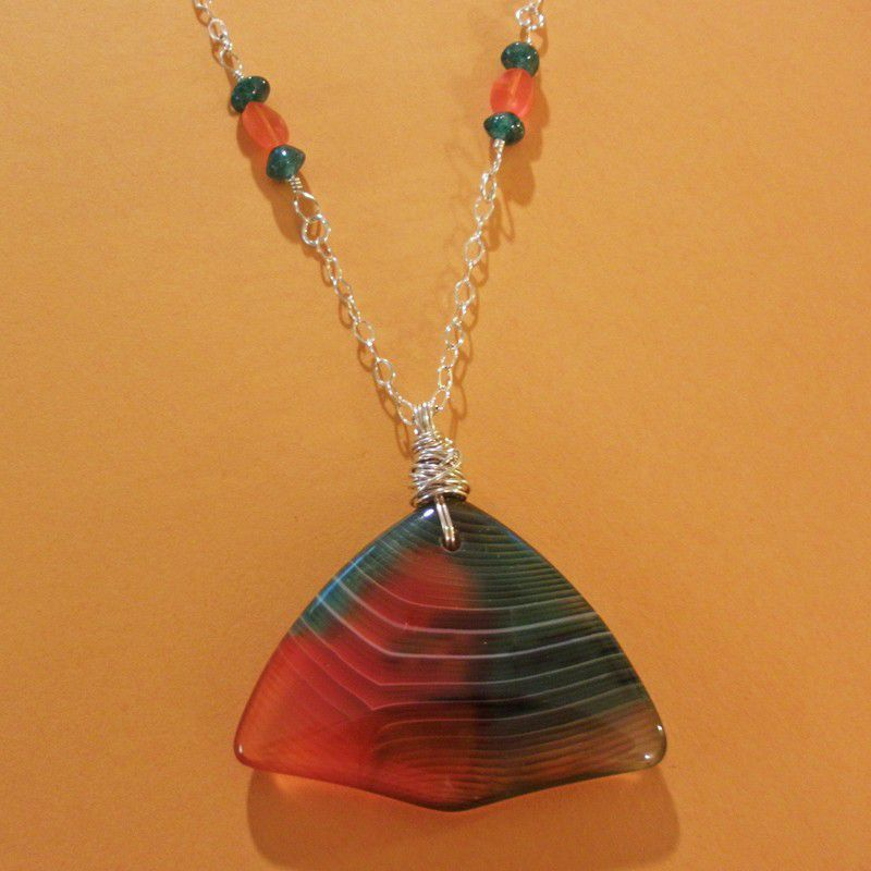 Indonesian Banded Agate and Sterling Silver Wire Wrapped Beaded Necklace - product images  of